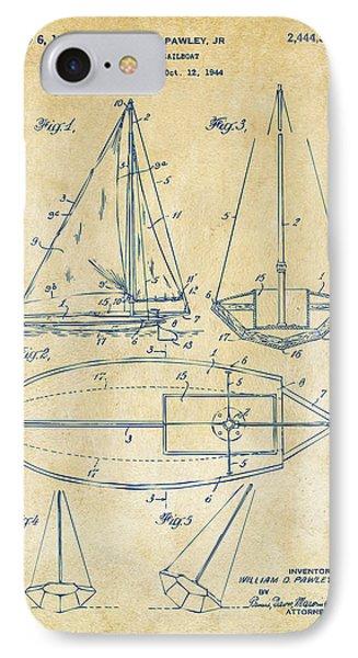 1948 Sailboat Patent Artwork - Vintage Phone Case by Nikki Marie Smith