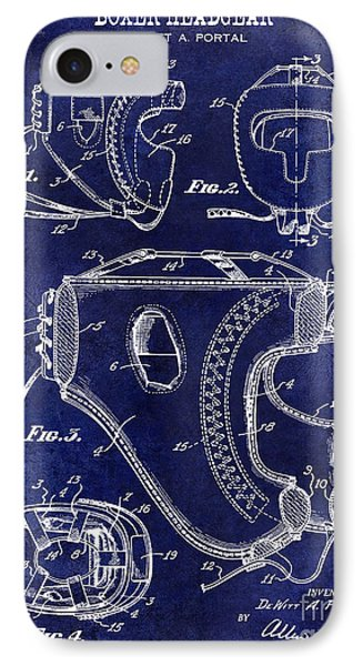 1949 Boxer Headgear Patent Drawing Blue IPhone Case by Jon Neidert