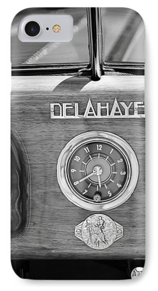 1949 Delahaye 175 S Cabriolet Dandy Dash Board Emblem - Clock IPhone Case by Jill Reger