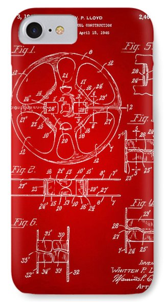 1949 Movie Film Reel Patent Artwork - Red Phone Case by Nikki Marie Smith