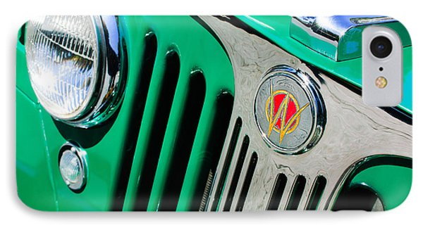 1949 Willys Jeep Station Wagon Grille Emblem IPhone Case by Jill Reger