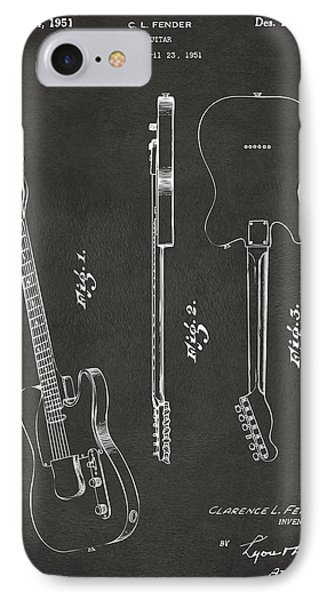1951 Fender Electric Guitar Patent Artwork - Gray IPhone Case by Nikki Marie Smith