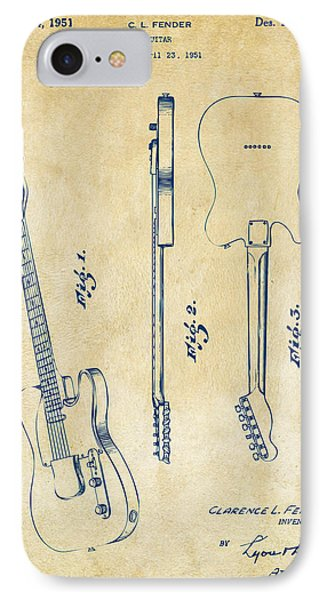 Guitar iPhone 7 Case - 1951 Fender Electric Guitar Patent Artwork - Vintage by Nikki Marie Smith