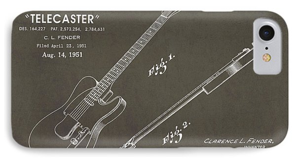 1951 Fender Telecaster Guitar Patent Art In White Chalk On Gray  IPhone Case by Nishanth Gopinathan