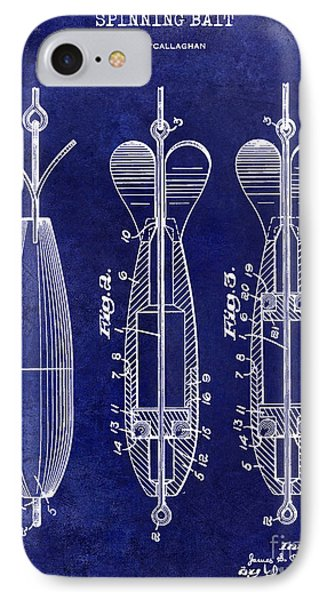 1951 Spinning Bait Patent Drawing Blue IPhone Case by Jon Neidert