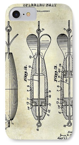 1951 Spinning Bait Patent Drawing IPhone Case