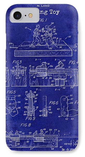 1952 Boxing Toy Patent Drawing Blue IPhone Case by Jon Neidert