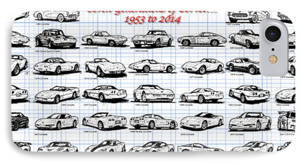IPhone Case featuring the drawing 1953-2014-corvettes by K Scott Teeters