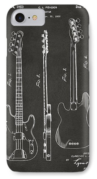1953 Fender Bass Guitar Patent Artwork - Gray IPhone Case by Nikki Marie Smith