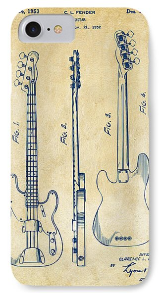 1953 Fender Bass Guitar Patent Artwork - Vintage IPhone Case by Nikki Marie Smith