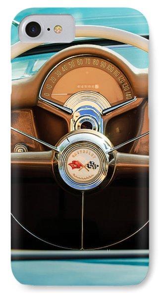 1954 Chevrolet Corvette Convertible  Steering Wheel Phone Case by Jill Reger