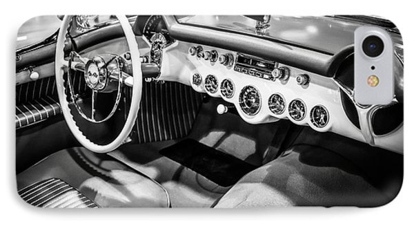 1954 Chevrolet Corvette Interior Black And White Picture Phone Case by Paul Velgos