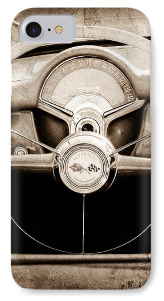 1954 Chevrolet Corvette Steering Wheel Emblem IPhone Case by Jill Reger