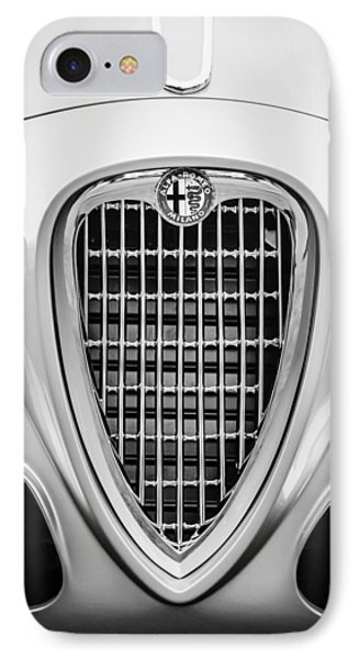 1955 Alfa Romeo 1900 Css Ghia Aigle Cabriolet Grille Emblem -0564bw Phone Case by Jill Reger