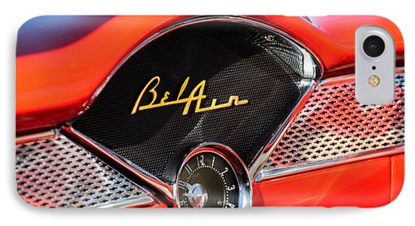 1955 Chevrolet Belair Dashboard Emblem Clock IPhone Case by Jill Reger