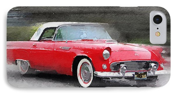 1955 Ford Thunderbird Watercolor IPhone Case by Naxart Studio