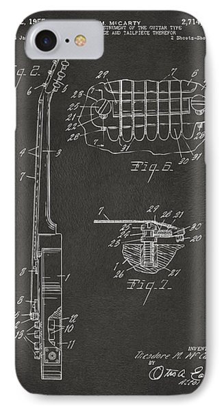 1955 Mccarty Gibson Les Paul Guitar Patent Artwork 2 - Gray IPhone Case