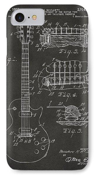 1955 Mccarty Gibson Les Paul Guitar Patent Artwork - Gray IPhone 7 Case