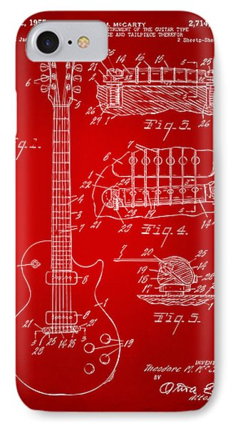 1955 Mccarty Gibson Les Paul Guitar Patent Artwork Red IPhone Case by Nikki Marie Smith