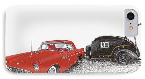 1955 Thunderbird And Kit Teardrop Phone Case by Jack Pumphrey