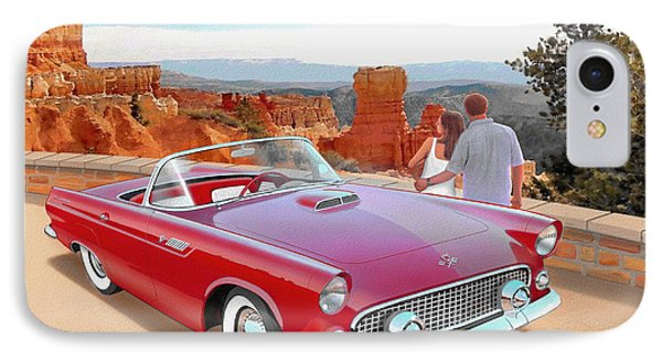 1955 Thunderbird At  Bryce Canyon  Classic Ford Art Sketch Rendering Art Sketch Rendering            IPhone Case by John Samsen