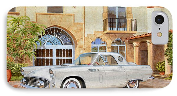 1956 Thunderbird At Palm Beach  Classic Vintage Ford Art Sketch Rendering          IPhone Case