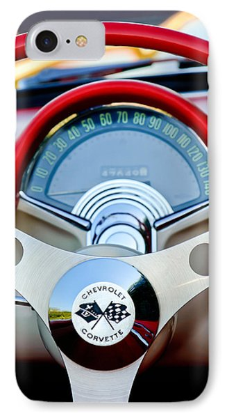 1957 Chevrolet Corvette Convertible Steering Wheel Phone Case by Jill Reger