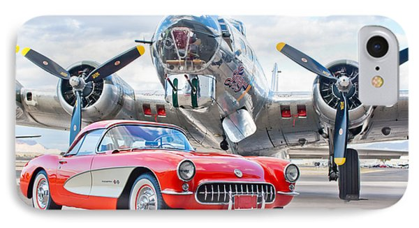 1957 Chevrolet Corvette IPhone Case by Jill Reger