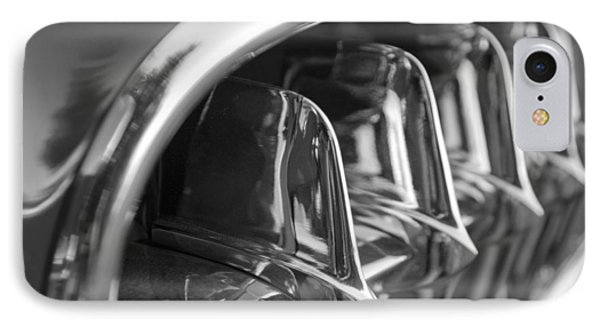 1957 Corvette Grille Black And White Phone Case by Jill Reger