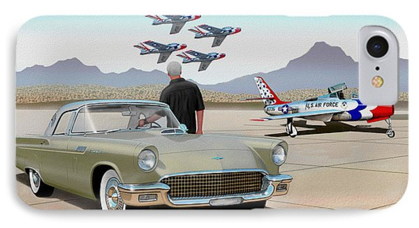 1957 Thunderbird  With F-84 Thunderbirds Inca Vintage Ford Classic Art Sketch Rendering            IPhone Case