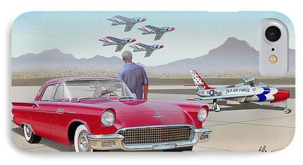 1957 Thunderbird  With F-84 Thunderbirds  Red  Classic Ford Vintage Art Sketch Rendering         IPhone Case by John Samsen