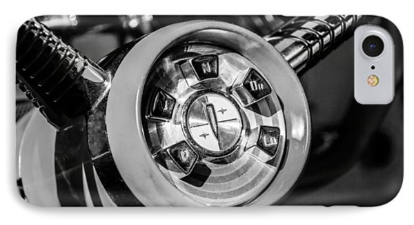 1958 Edsel Pacer Convertible Steering Wheel Transmission -0895bw IPhone Case by Jill Reger
