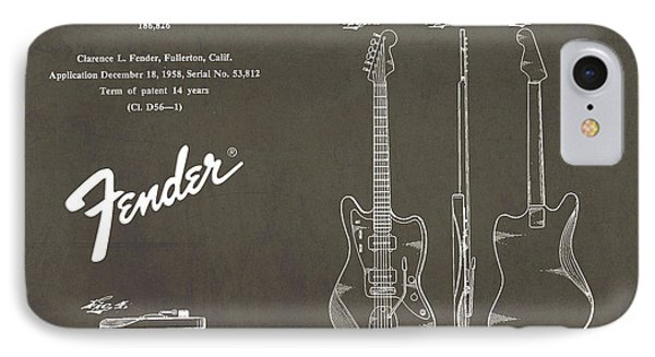 1958 Fender Electric Guitar Patent Art 2 IPhone Case by Nishanth Gopinathan