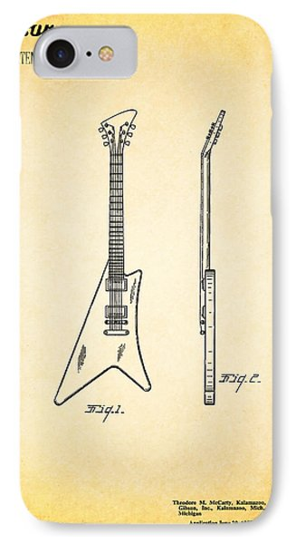 Guitar iPhone 7 Case - 1958 Gibson Guitar Patent by Mark Rogan