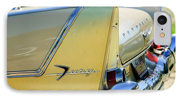 1958 Plymouth Fury Golden Commando Taillight Emblem -3447c IPhone Case by Jill Reger