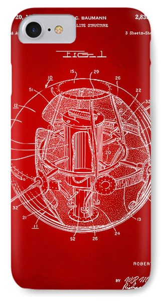 1958 Space Satellite Structure Patent Red IPhone Case by Nikki Marie Smith