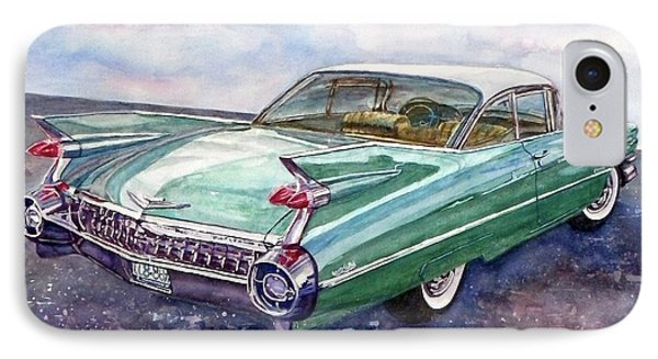 IPhone Case featuring the painting 1959 Cadillac Cruising by Anna Ruzsan