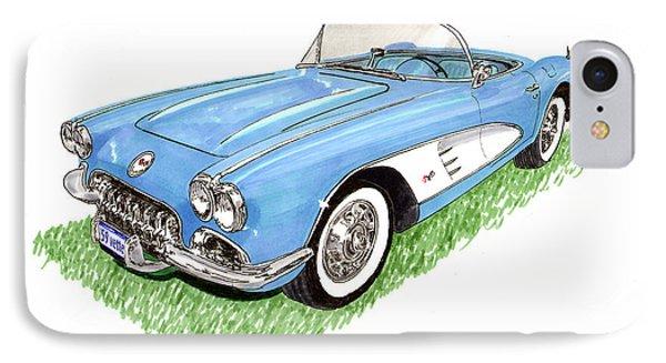1959 Corvette Frost Blue Phone Case by Jack Pumphrey