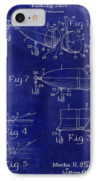1959 Fish Lure Patent Drawing Blue IPhone Case