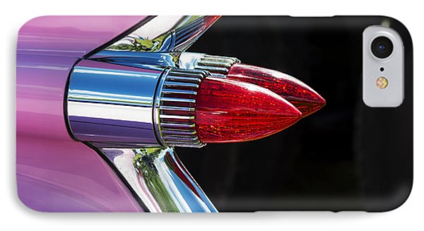 1959 Pink Cadillac Dual Bullet Tail Lights IPhone Case by Tim Gainey