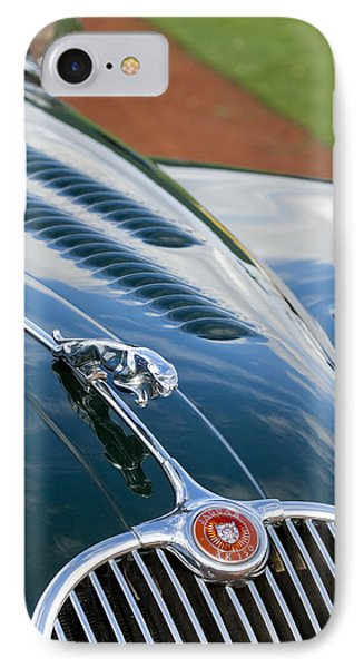 1960 Jaguar Xk 150s Fhc Hood Ornament 3 Phone Case by Jill Reger