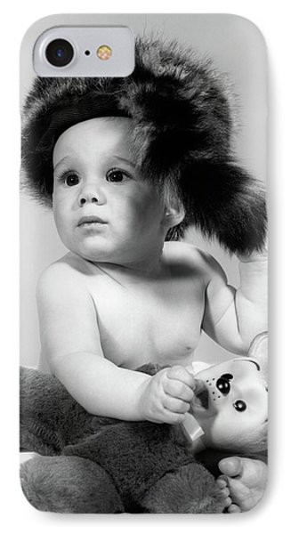 1960s Baby Wearing Coonskin Hat IPhone 7 Case