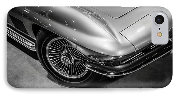 1960's Corvette C2 In Black And White Phone Case by Paul Velgos