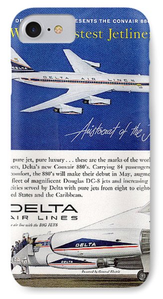 1960s Delta Convair 880 Ad IPhone Case