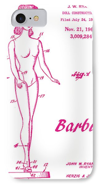 1961 Barbie Doll Patent Art 3 IPhone Case by Nishanth Gopinathan