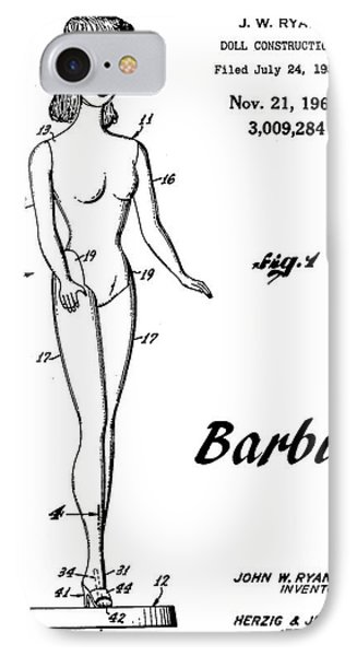 1961 Barbie Doll Patent Art 4 IPhone Case by Nishanth Gopinathan