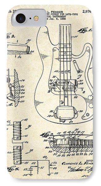 1961 Fender Bass Pickup Patent Art IPhone Case by Gary Bodnar
