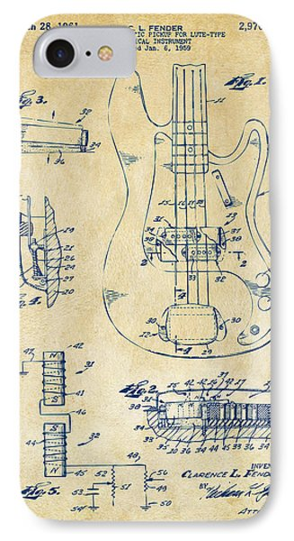 1961 Fender Guitar Patent Artwork - Vintage IPhone Case by Nikki Marie Smith