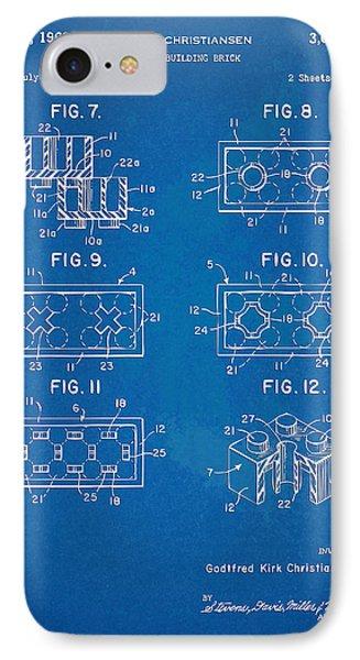 1961 Lego Brick Patent Artwork - Blueprint Phone Case by Nikki Marie Smith