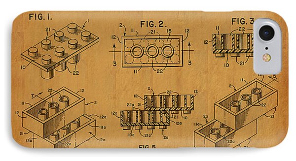 1961 Lego Building Blocks Patent Art 5 IPhone Case by Nishanth Gopinathan